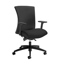 Global Vion Synchro-Tilter Mid-Back Chair, Black Imprint Fabric