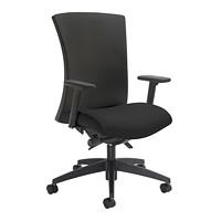 Global Vion Synchro-Tilter High-Back Chair, Black, Imprint Fabric