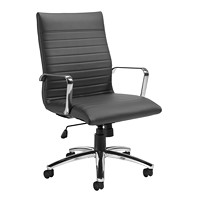 Offices To Go Ultra High-Back Tilter Armchair, Grey, Bonded Luxhide Leather