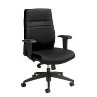 Offices To Go High-Back Multi-Task Synchro-Tilter Chair, Black, Luxhide