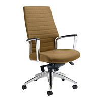 Global Accord Knee-Tilter High-Back Chair, Ice Coffee, Vinyl