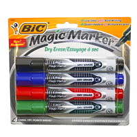 BIC Magic Marker Liquid Ink Dry-Erase Markers, Assorted Colours, Chisel Tip, 4/PK