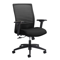 Global Loover Mid-Back Mesh-Back Weight Sensing Synchro-Tilter Chair, Black Velvet, Vinyl