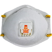 3M 8511 N95 Disposable Particulate Respirators with Cool Flow Valve, White, 10/BX