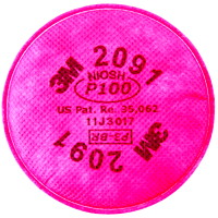 3M 2091 Particulate Filter, NIOSH P100 Rated, Pink, 2/PK