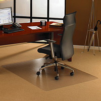 Floortex Cleartex Ultimat General Office and Chair Mat For Low and Medium Pile Carpets, Clear, 48