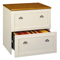 Bush Fairview Lateral File in Antique White/Tea Maple