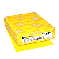 Papier couverture Astrobrights Neenah, couleur jaune Sunburst Yellow, format lettre, certifié FSC et Green Seal, 65 lb, rame