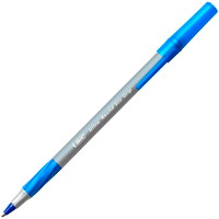 BIC Round Stic Grip Ballpoint Pen, Blue, Medium Tip, 12/BX