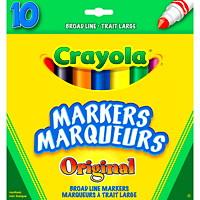 Marqueurs à trait large Crayola, couleurs variées, emb. de 10