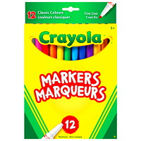 Crayola Fine Line Markers, Assorted Colours, 12/PK