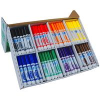 Marqueurs lavables Ultra-Clean Crayola, couleurs classiques variées, pointe large, boîte de 200