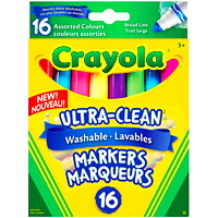 Marqueurs lavables Ultra-Clean Crayola, couleurs variées collection colossale, pointe large, emb. de 16