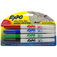 Expo Ultra-Fine Tip Low-Odour Dry-Erase Markers, 4/Pk