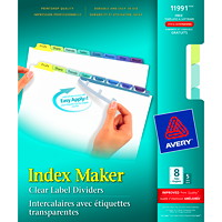 Avery Index Maker Clear Label Dividers With Easy Apply Laser Labels