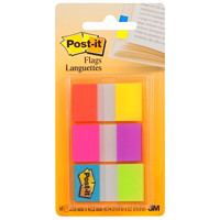 Post-it Standard Flags with On-The-Go Dispenser, Electric Glow, 1