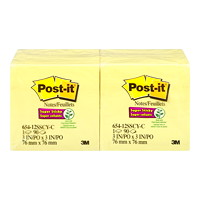 Post-it Super Sticky Notes, Unlined, Canary Yellow, 3