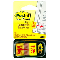 Post-it Pre-printed Sign Here Flags with Dispenser, 50 Flags/PK