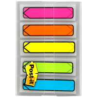 Post-it Preprinted Arrow Message Flags, With On-The-Go Dispenser, Assorted Bright Colours, 1/2