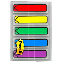 Post-it Preprinted Arrow Message Flags, With On-The-Go Dispenser, Assorted Primary Colours, 1/2
