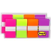 Languettes standard avec distributeur pratique Post-it, rose/vert/orange/mauve, 1po x 17/10po, 40 languettes de chaque couleur, emb. de 4 couleurs
