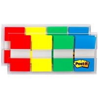 Languettes standard avec distributeur pratique Post-it, rouge/jaune/bleu/vert, 1po x 17/10po, 40 languettes de chaque couleur, emb. de 4 couleurs