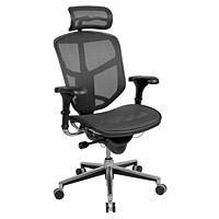 WorkPro PRO Quantum 9000 Series Ergonomic Mesh High-Back Synchro-Tilt Chair with Headrest, Black