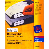 Avery 6498 Removable ID Labels, White, 2 5/8