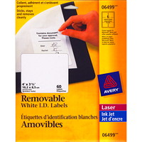 Avery 6499 Removable ID Labels, White, 4