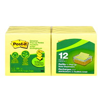 Post-it Greener Pop-Up Notes, Unlined, Canary Yellow, 3