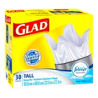 Glad Tall-Size Easy-Tie Kitchen Catchers Garbage Bags With Febreze Freshness