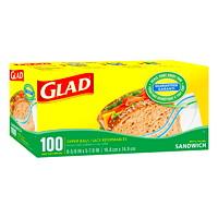 Glad Zipper Sandwich Bags, Box of 100