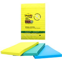 Post-it Super Sticky Recycled Notes in Bora Bora Colour Collection, Lined, 4