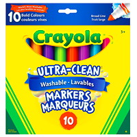 Crayola Ultra-Clean Washable Markers, Assorted Bold Colours, Broad Tip, 10/PK