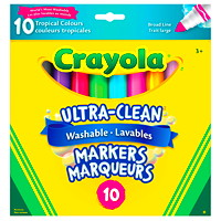 Marqueurs lavables Ultra-Clean Crayola, couleurs tropicales variées, pointe large, emb. de 10