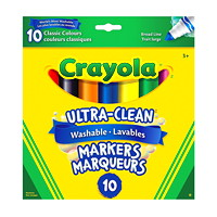 Crayola Ultra-Clean Washable Markers, Assorted Classic Colours, Broad Tip, 10/PK