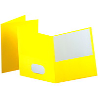 Oxford Embossed Twin-Pocket Report Cover Folders, Yellow, Letter Size