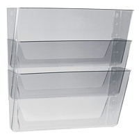 Storex Snap and Stack Wall File Pockets, Clear, Legal-Size, 3/PK