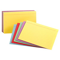Oxford Printable Ruled Index Cards, Assorted Colours, 3