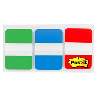 Onglets durables Post-it, vert/bleu/rouge, 1po x 1/2po, 22 onglets de chaque couleur, emb. de 66