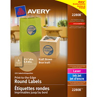 Avery Print-to-the-Edge Permanent Round Kraft Labels