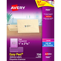 Étiquettes transparentes lustrées Easy Peel Avery