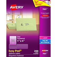 Avery 7661 Glossy Easy Peel Address Labels, Clear, 1