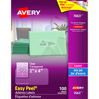 Avery 7663 Glossy Easy Peel Address Labels, Clear, 2
