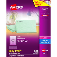 Avery 7667 Glossy Easy Peel Address Labels, Clear, 1/2