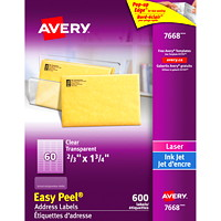 Avery 7668 Glossy Easy Peel Address Labels, Clear, 2/3