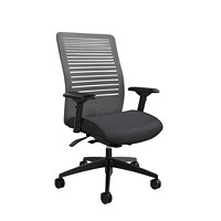 Global Loover Mid-Back Mesh-Back Weight Sensing Synchro-Tilter Chair, Quarry Grey