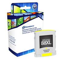 Cartouche d'encre à rendement élevé remise à neuf Dataproducts compatible avec HP 88XL (C9393AN), jaune