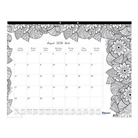Blueline 12-Month Academic 2016-2017 Monthly (August-July) Colouring Desk Pad Calendar