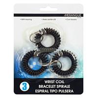 Merangue Wrist Coiled Key Rings, Black, 3/PK